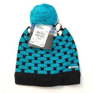 Salomon Poly Beanie Hat Pom Wool Blend Blue Black